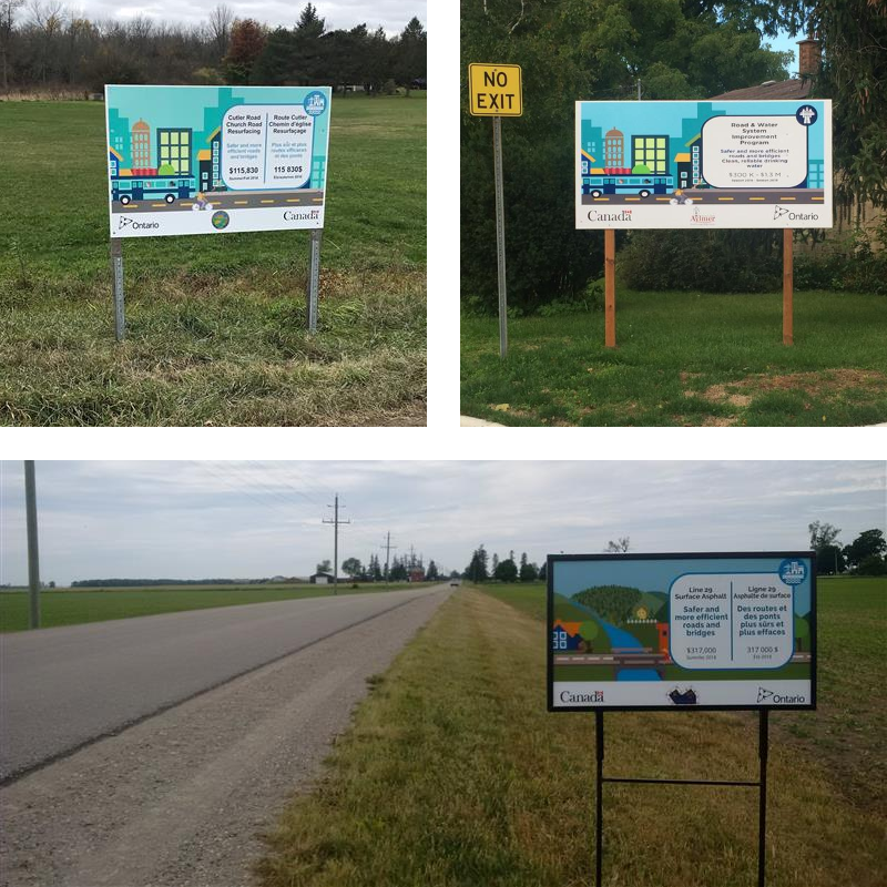 Photos of signs at projects sites across Ontario