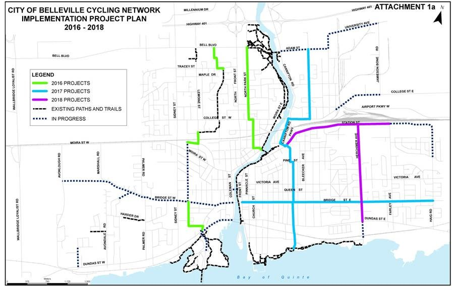Map of Belleville's cycling network