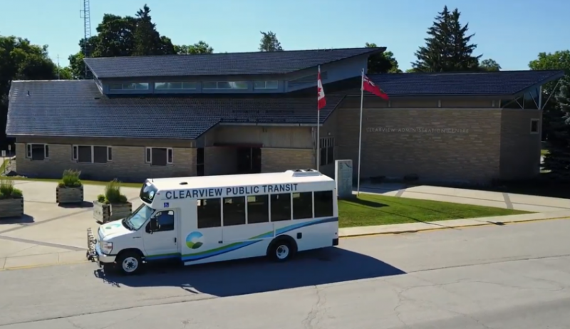 Screenshot from video about Clearview Township's transit system.
