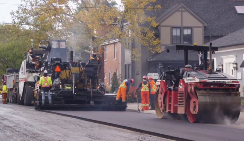 Screenshot from video about the Town of Oakville's street conversion project.