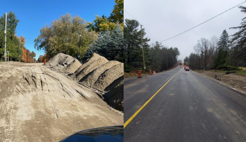 A before and after side-by-side image of the rehabilitated road in King Township.