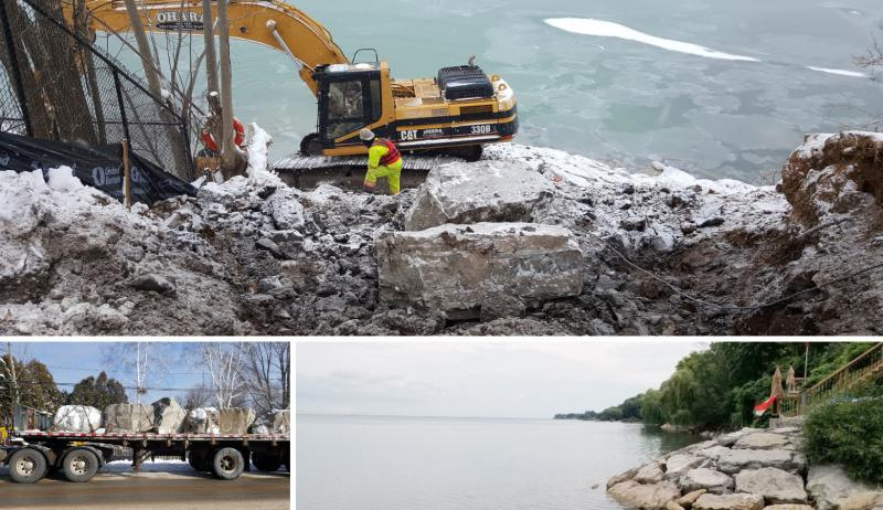 A photo collage showing work taking place at Grimsby shoreline.