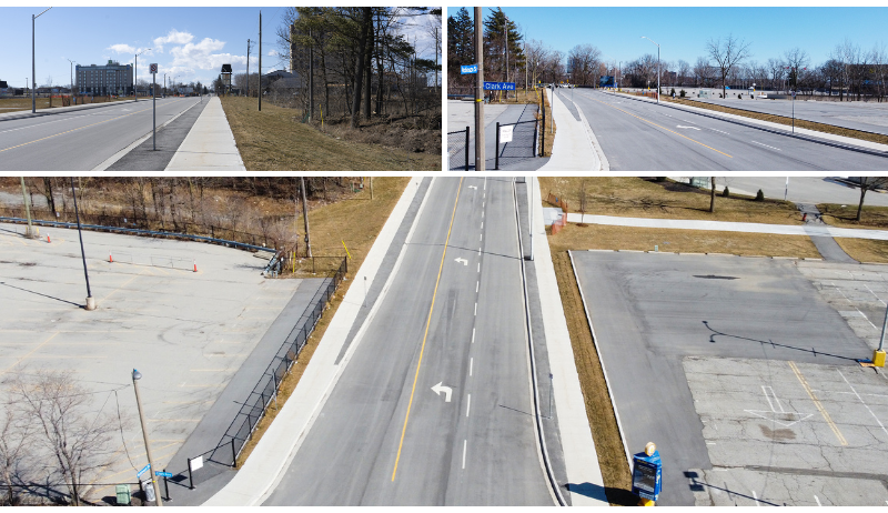 A photo collage showing different views of the new Robinson street surface in Niagara Falls.