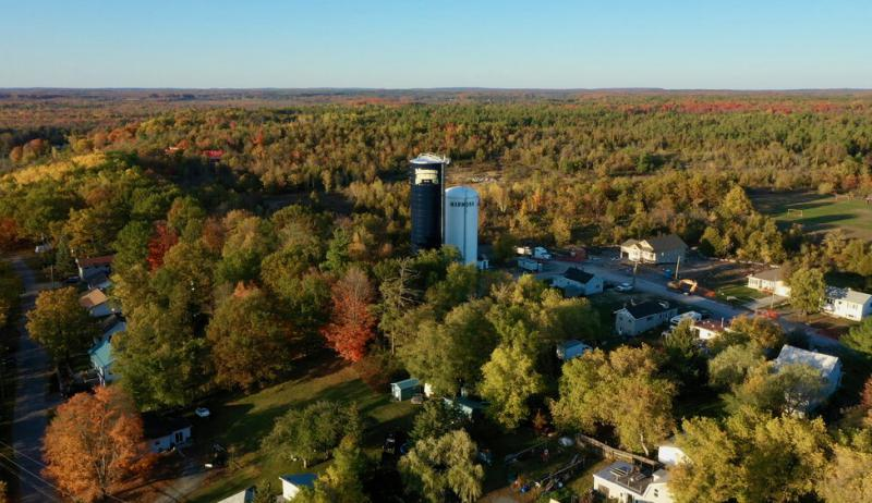 An aerial photo showing the new water tower in Marmora Village, Ontario
